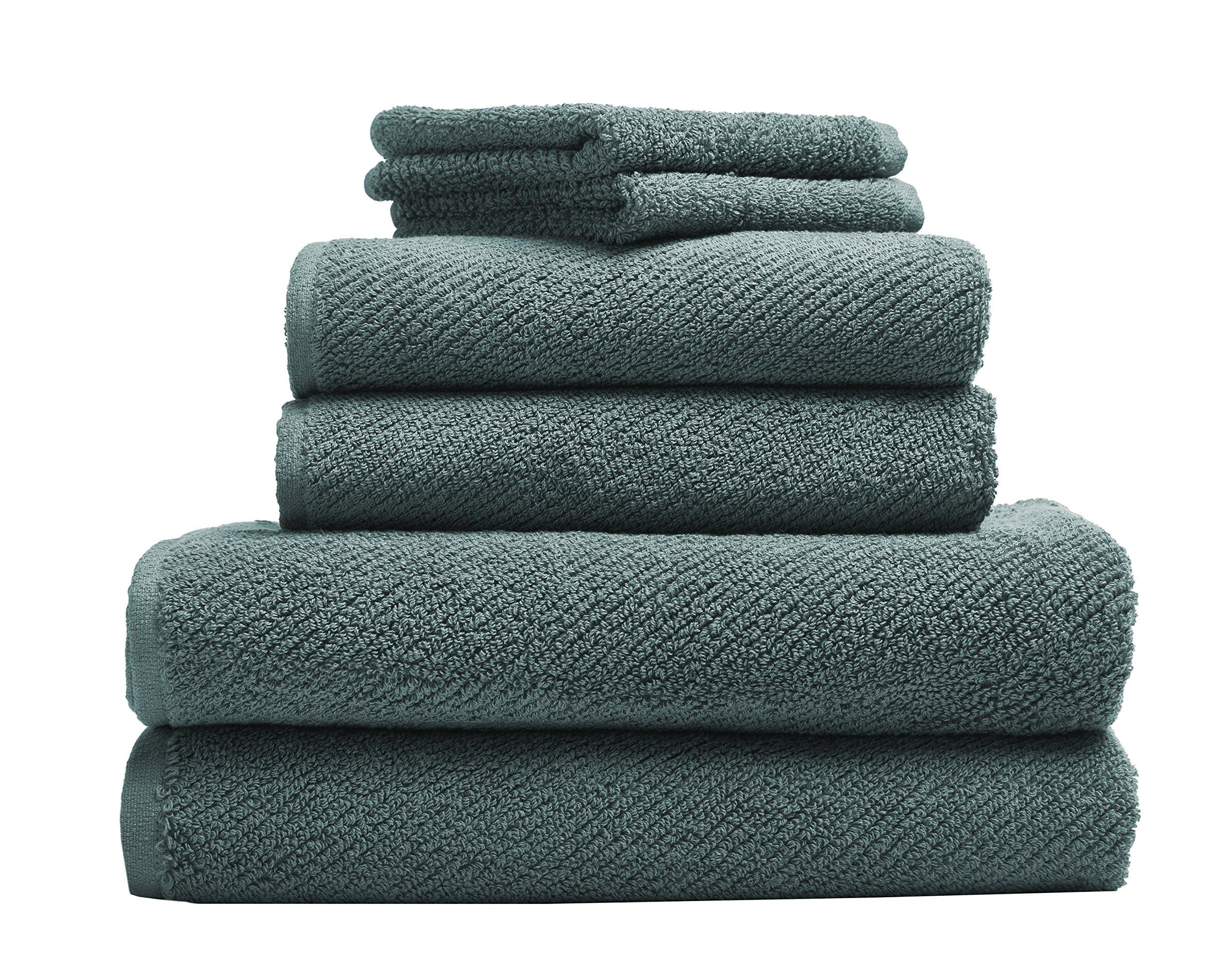 Coyuchi 1019021 6 Piece Organic Air Weight Towel Set, Deep Dusty Aqua by Coyuchi (Image #1)