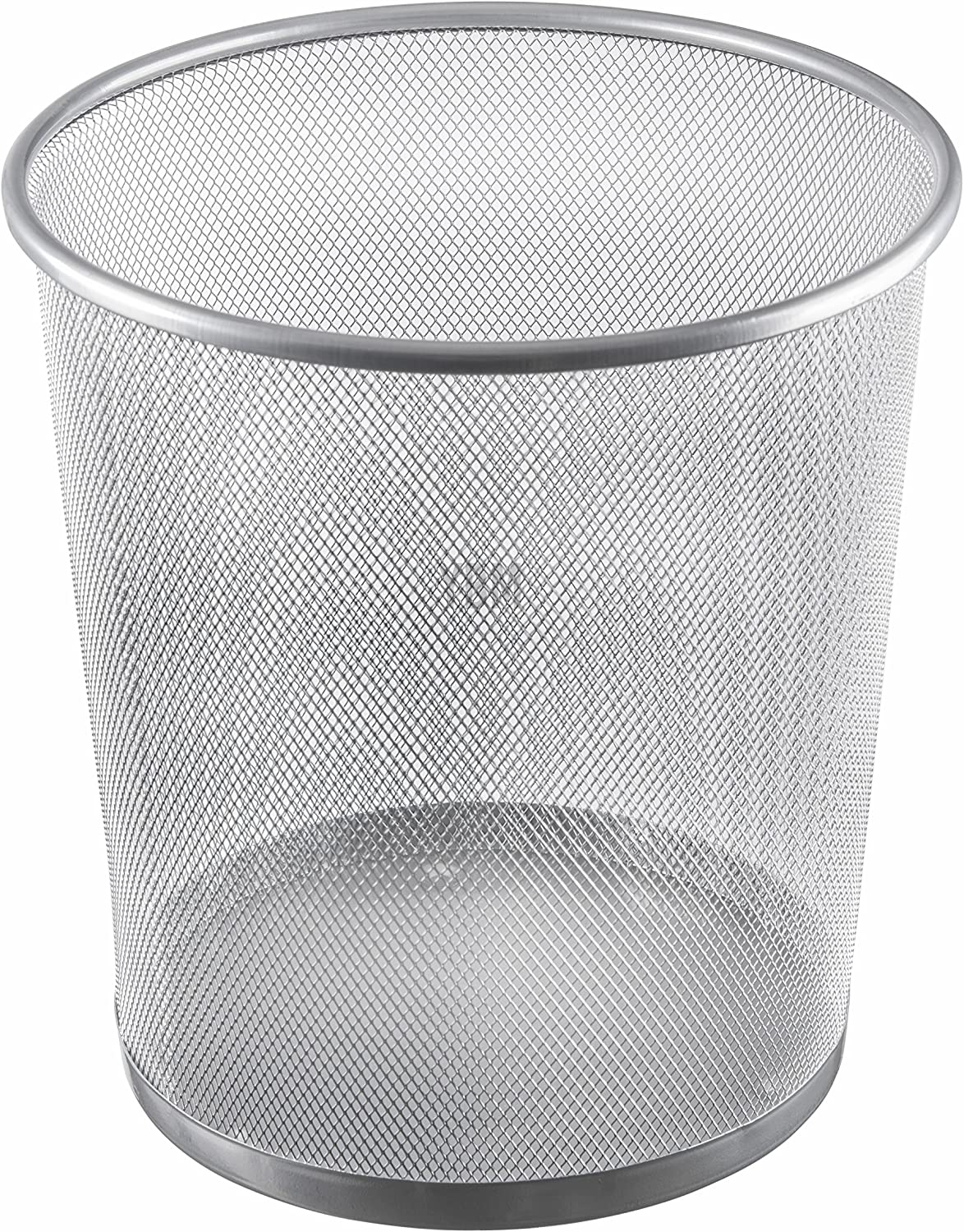 Ybmhome Steel Mesh Round Open Top Waste Basket Bin Trash Can for Office Home 2485 (1, Silver)