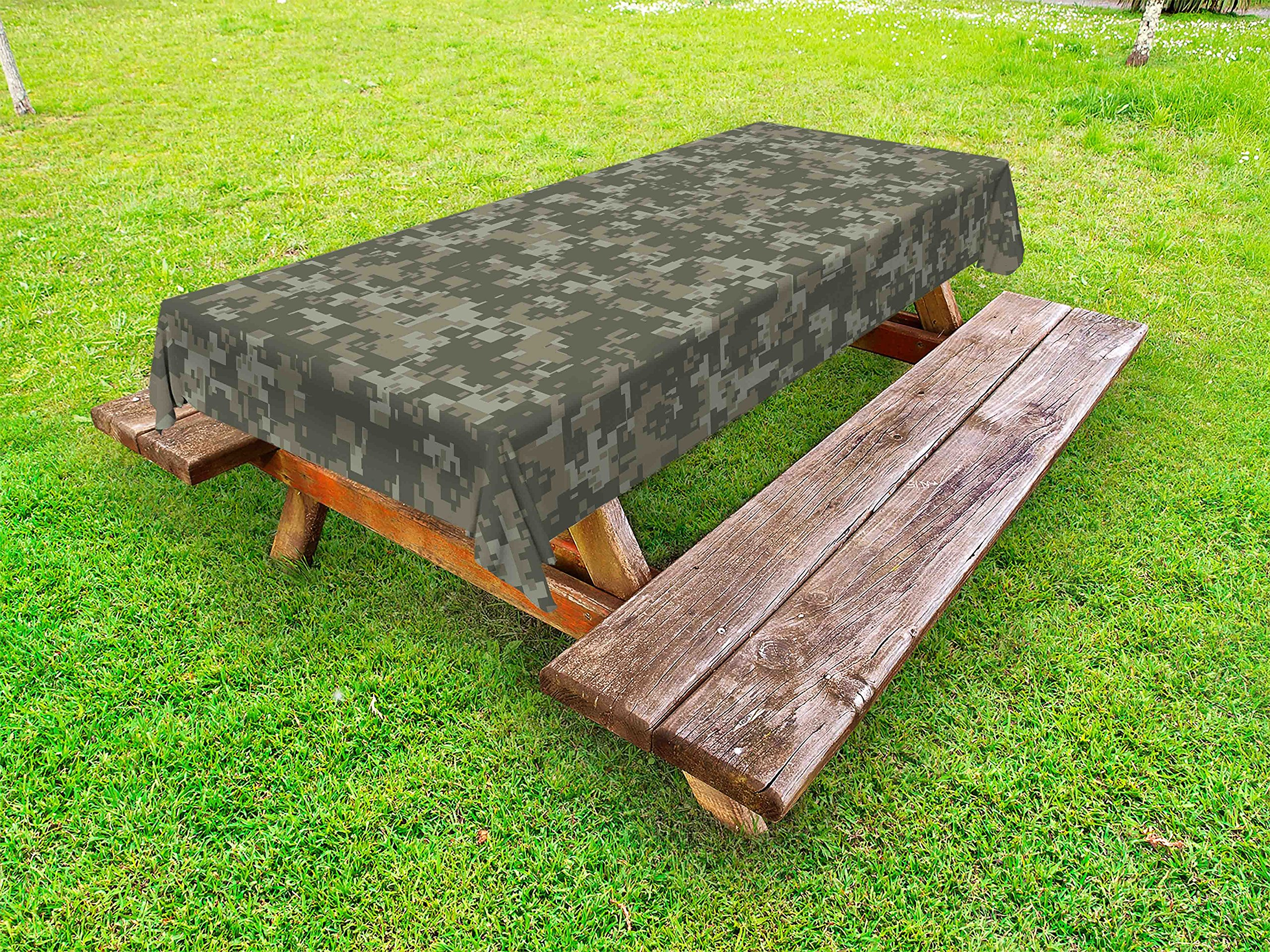 Ambesonne Camouflage Outdoor Tablecloth, Monochrome Attire Pattern Concealing Hiding in The Woods Themed Print, Decorative Washable Picnic Table Cloth, 58 X 104 inches, Army Green Sage Green