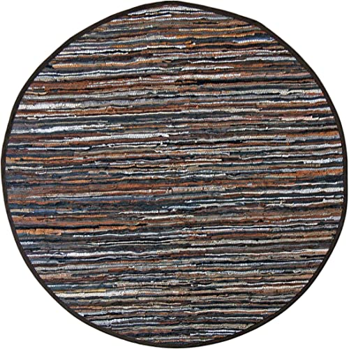Mixed Brown Leather Matador 3×3 Round Rug