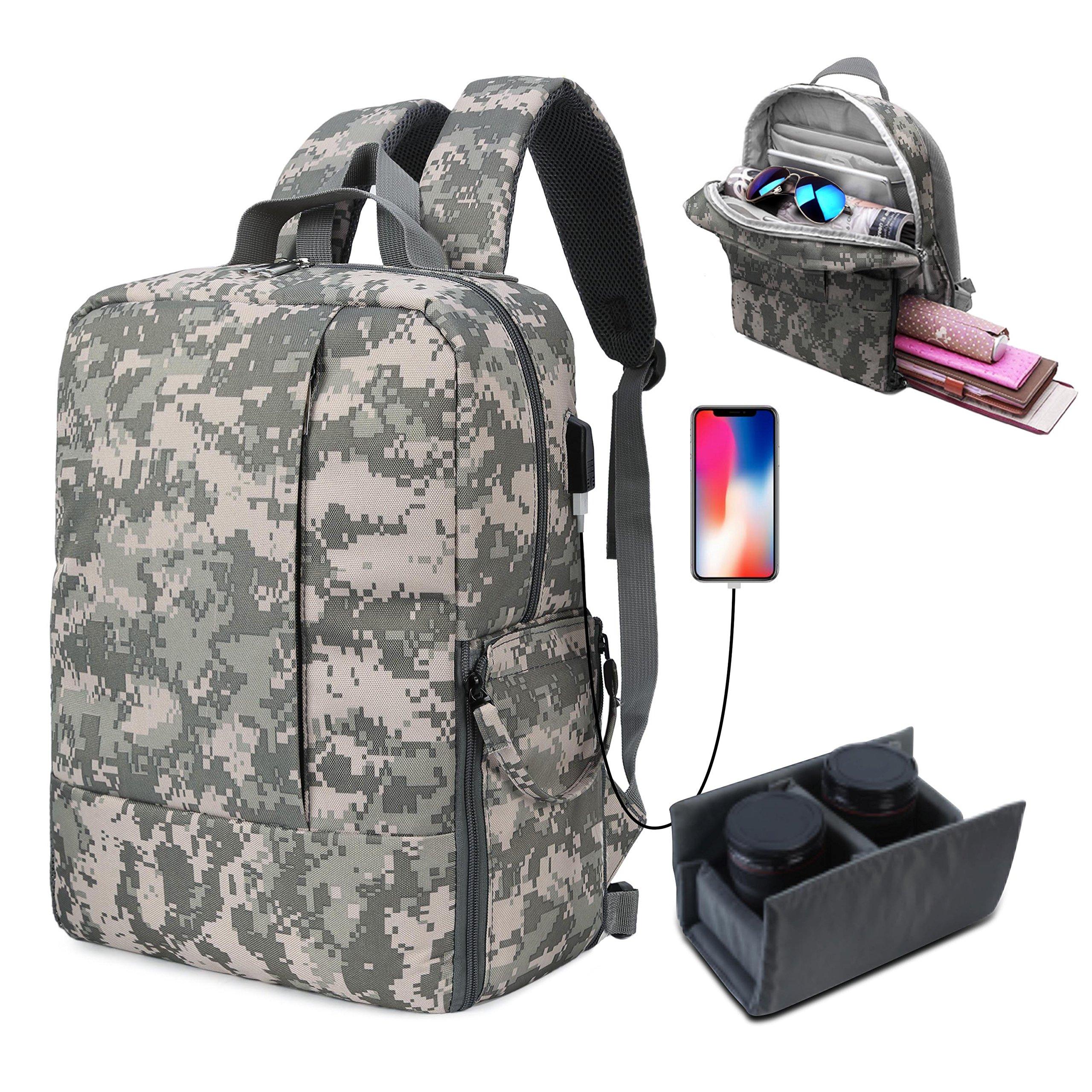 DSLR SLR Camera Backpack for Women Men Waterproof Camera Bag with Laptop for Canon Nikon Sony (Dark Gray)