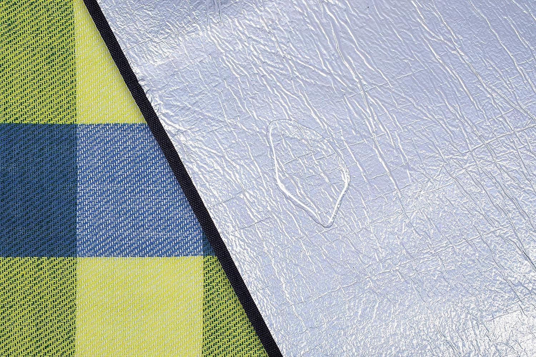 Isolation thermique et tr/ès douce PNDKE31 Tapis de jardin portable avec poign/ée TRESKO XXL 195 x 150 cm Couverture de pique-nique en acrylique imperm/éable Tapis de camping ext/érieur
