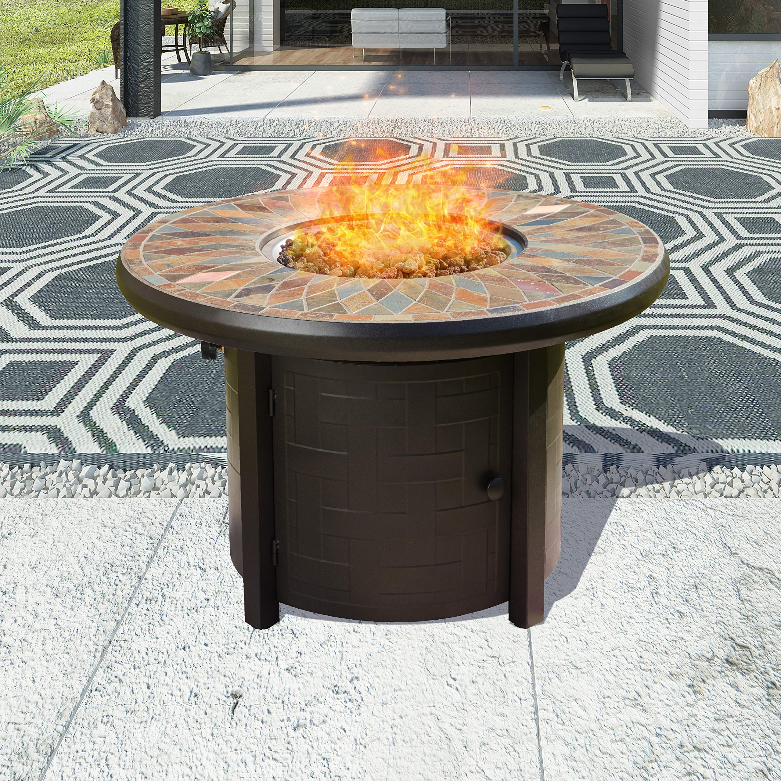 Top Space Propane Fire Pit Table Outdoor Gas Fire Table Patio Heater CSA Certification 50,000 BTU Auto-Ignition with Natural Slate Tile Tabletop, 42 Inch, Round, Bronze by Top Space