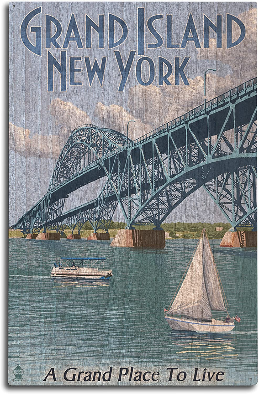 Lantern Press Grand Island, New York - Bridge Scene (10x15 Wood Wall Sign, Wall Decor Ready to Hang)