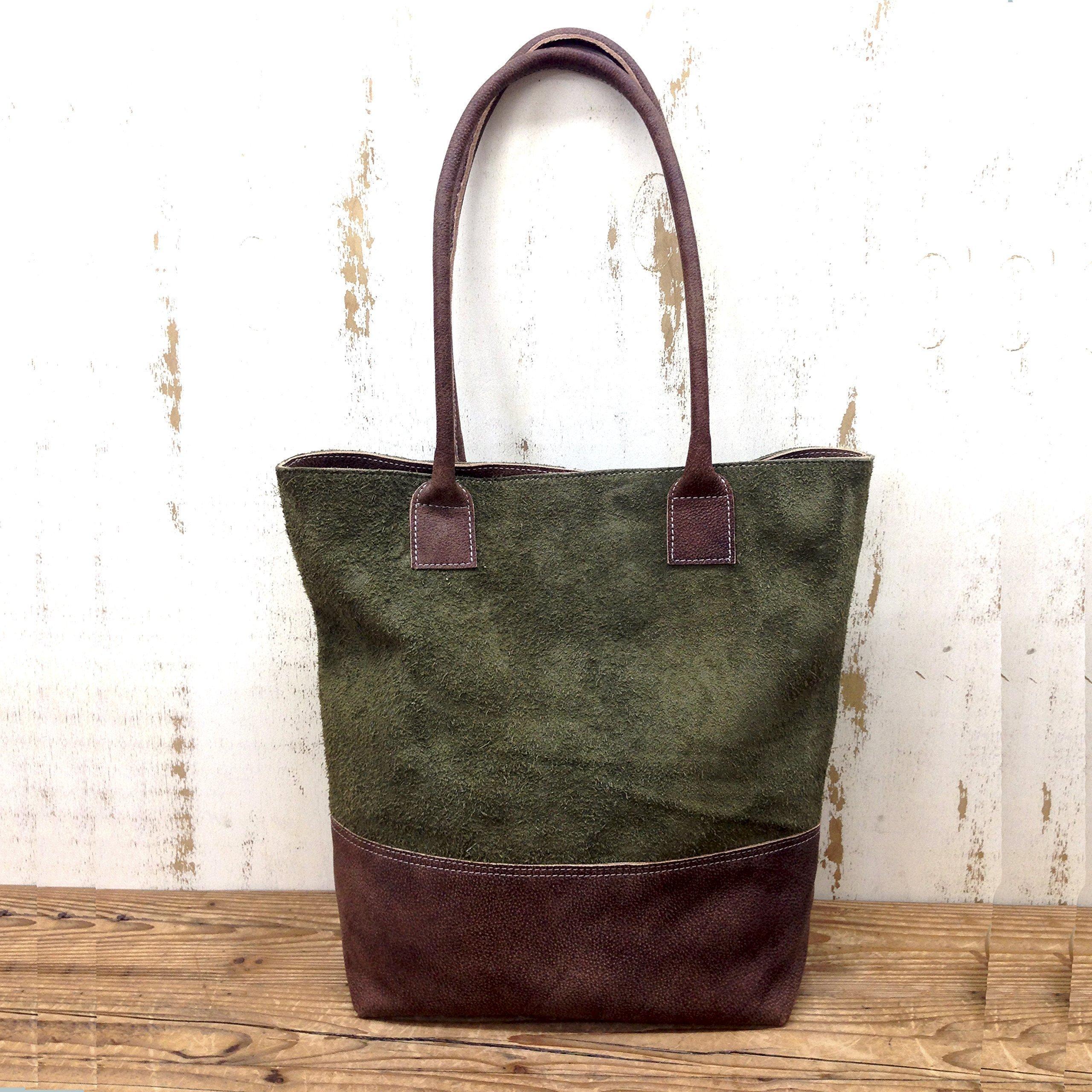 Green suede leather tote bag , distressed brown Book shopper handbag Working Handmade Fashion purse