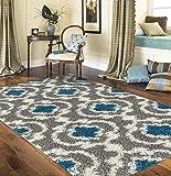 "5'3\ x 7'3\ , Gray/Turquoise : Rugshop Cozy Moroccan Trellis Indoor Shag Area Rug, 5'3"" x 7'3"", Gray/Turquoise"