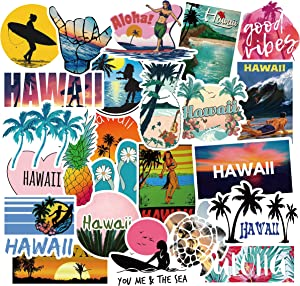 50 Pcs Vinyl Hawaii Aloha Stickers Waterproof Beach Vacation Sticker Pack for Water Bottle Hydro Flask Laptop Skateboard Luggage Bike Car
