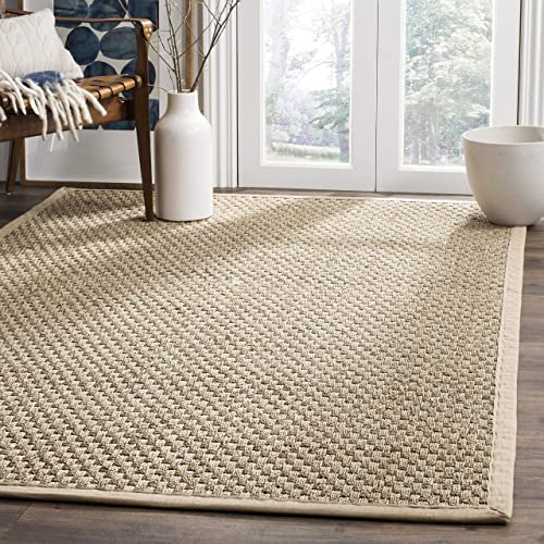 Safavieh Natural Fiber Collection NF114A Basketweave Natural and Beige Summer Seagrass Area Rug 8' x 10'
