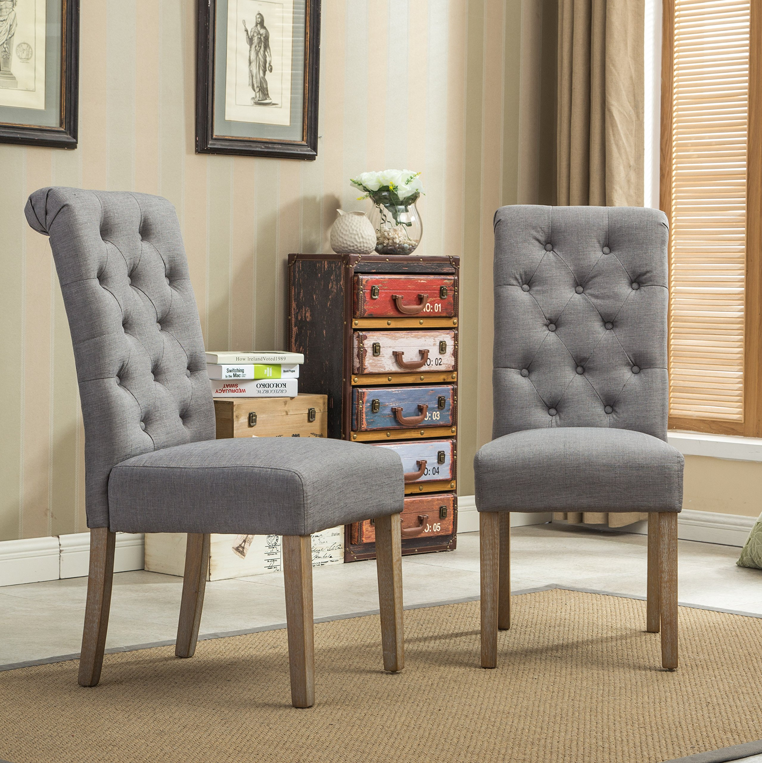 Roundhill Furniture Habit Grey Solid Wood Tufted Parsons Dining Chair (Set of 2), Gray by Roundhill Furniture (Image #2)