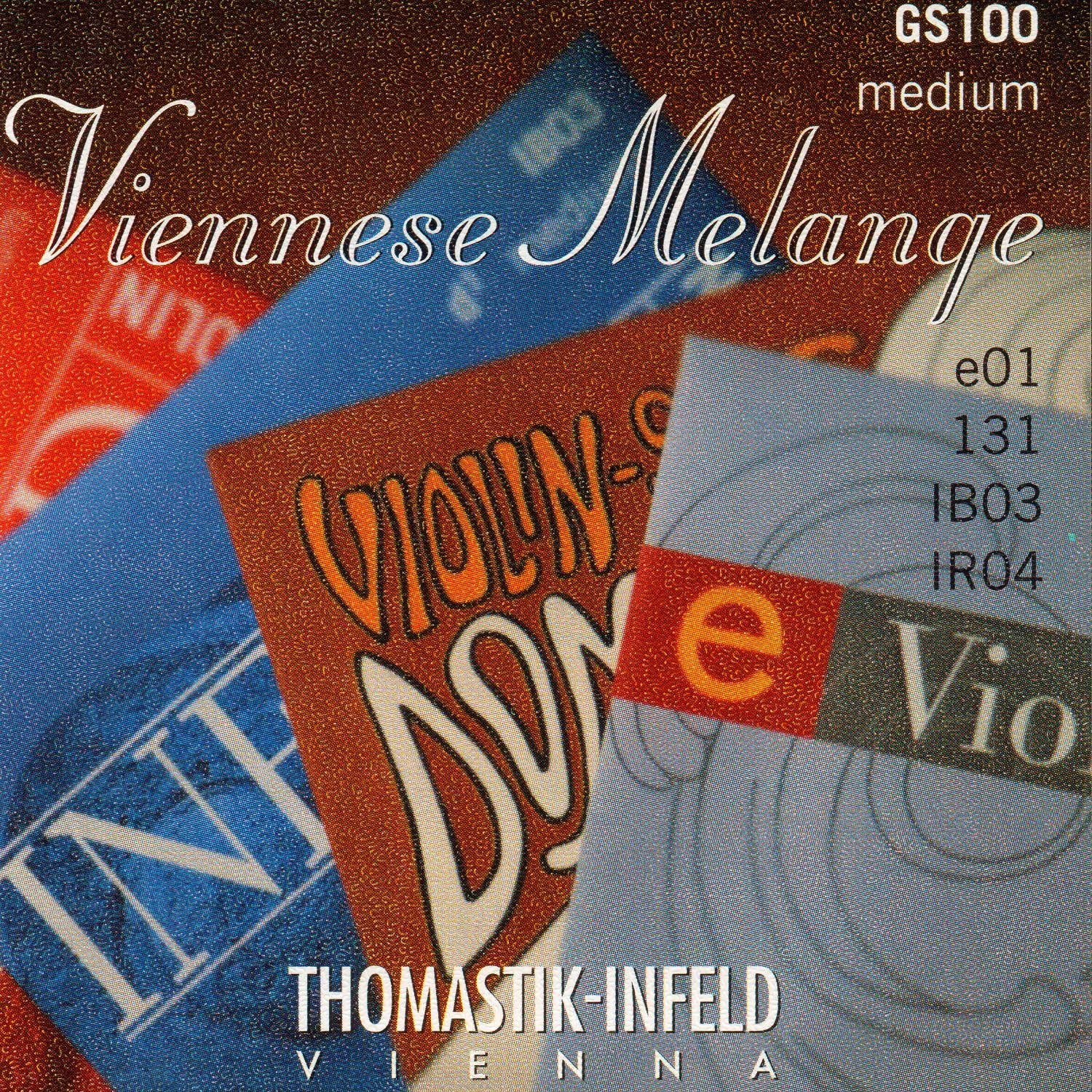 Thomastik Viennese Melange 4/4 Violin String Set - Medium Gauge with Removeable Ball-end E