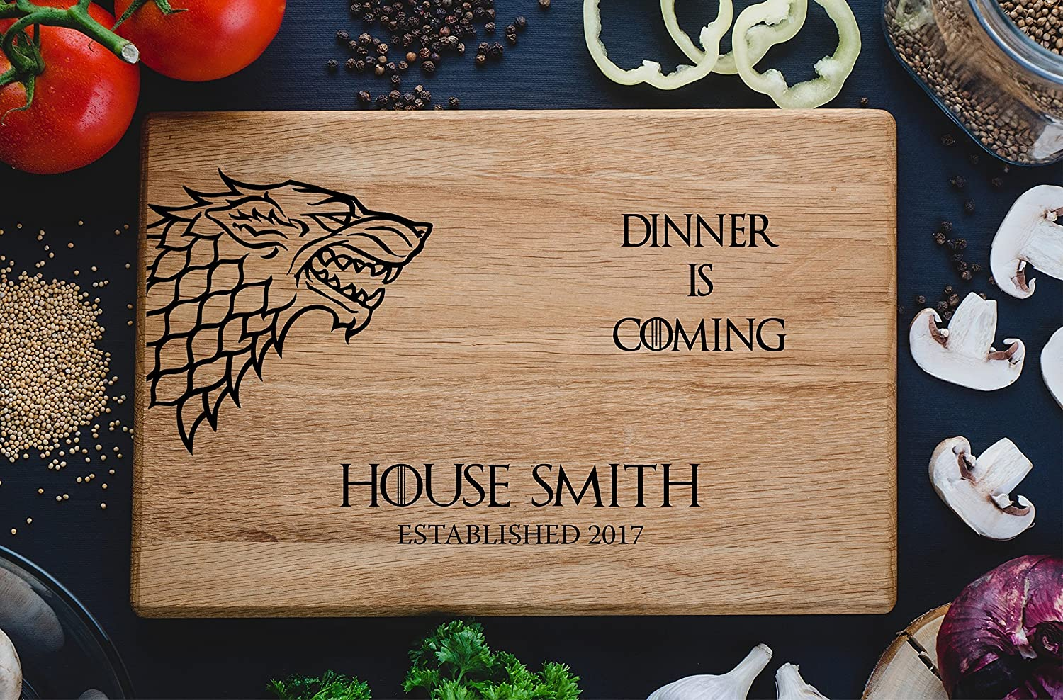 Personalized Cutting Board Dinner is coming Games of thrones House Stark Direwolf Engraved Custom Family chopping Wedding Gift Anniversary Housewarming Birthday Christmas game01