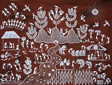 Sunrise in a village warli painting on cotton fabric folk art of sunrise in a village warli painting on cotton fabric folk art of the warli altavistaventures Image collections