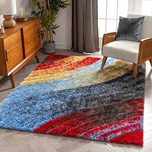 "Well Woven Maura Multi Geometric Stripes Thick Soft Plush 3D Textured Shag Area Rug 8x10 7'10"" x 9'10"""