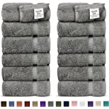 Luxury Premium long-stable Hotel & Spa Turkish Cotton 12-Piece Eco-Friendly Washcloth Set (Gray)