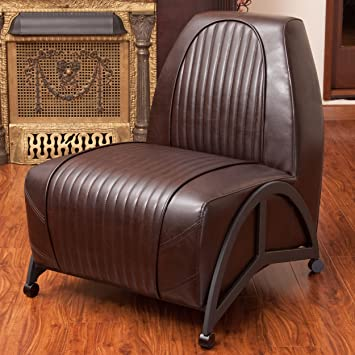 Dalton Channeled Brown Leather Slipper Chair