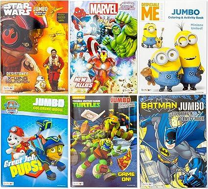 Amazon Com Kids Coloring Activity Book Featuring Paw Patrol Marvel Avenger Thor Hulk Captain America Spiderman Ironman Ninja Turtles Batman Despicable Me Minions Star Wars 6 Different Jumbo Books Toys