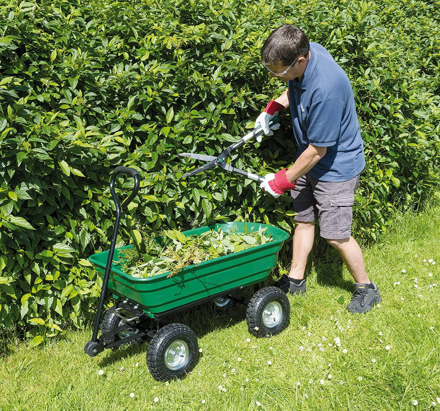 Draper Garden Tipper Cart - Green DRA58553