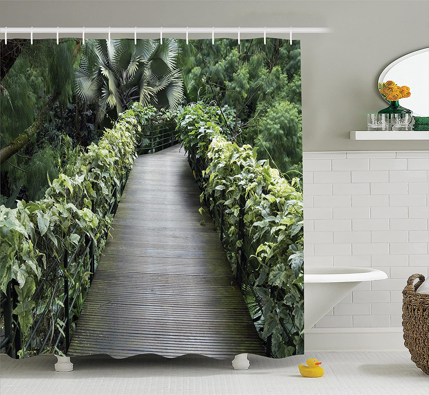 Ambesonne Outdoor Shower Curtain Nature Decor Scenic Wooden Pathway In Singapore Botanical Garden Fence Rainforest Tropical Bathroom Accessories