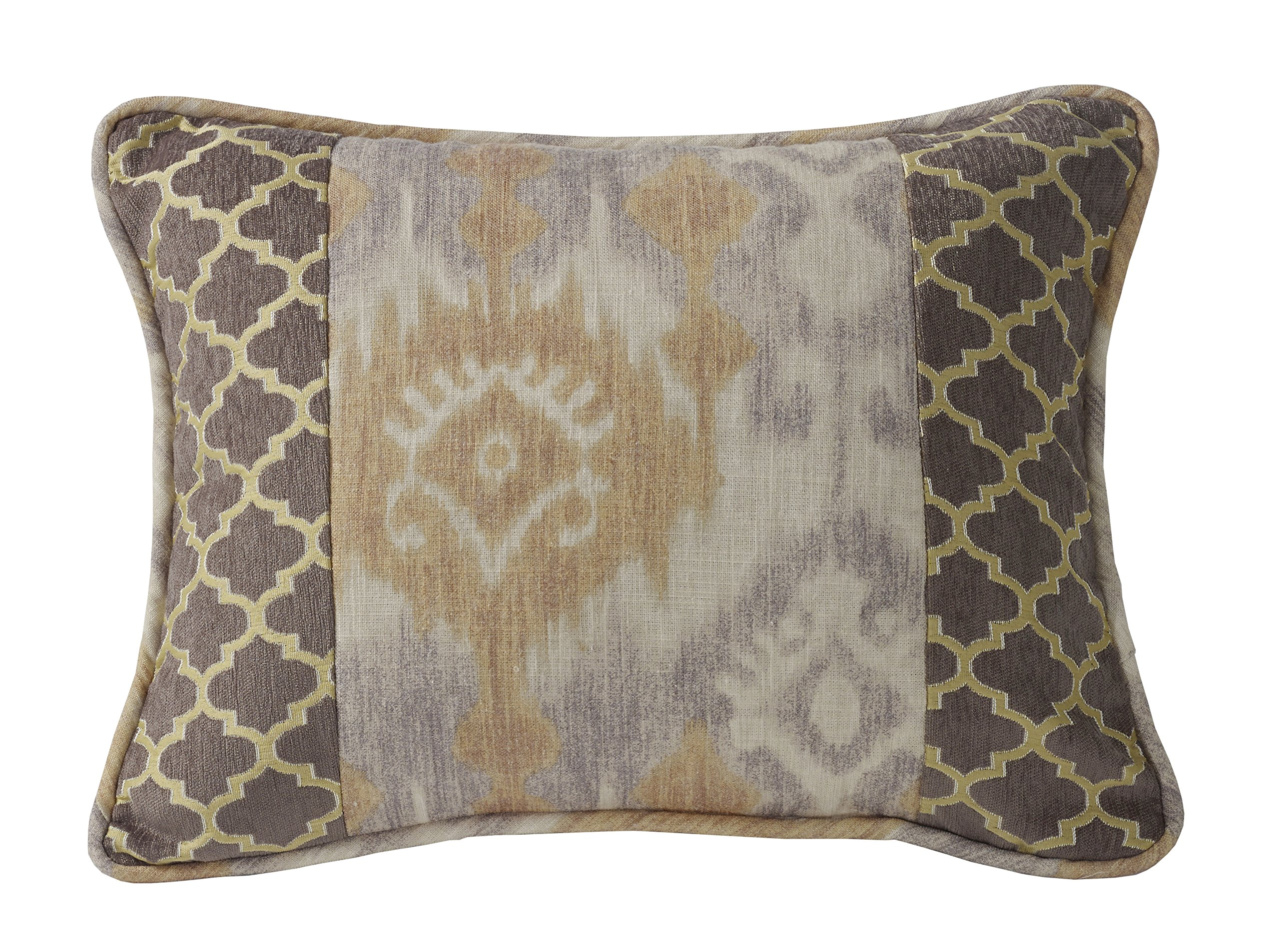 HiEnd Accents Casablanca Ikat and Ogee Pillow, 18 by 18'', Geometric, Yellow
