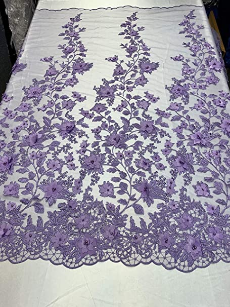 Gray Mesh Lace Floral Fabric By The Yard/_ Embroidery Handmade Floral Lace/_ Decor Skirts Costumes Runners Tablecloths Night Gowns