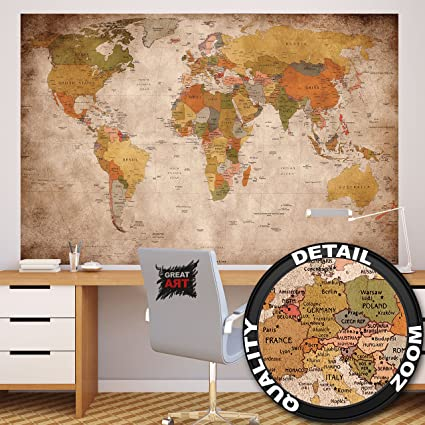 Amazon wallpaper used look wall picture decoration globe wallpaper used look wall picture decoration globe continents atlas world map earth geography retro old gumiabroncs Image collections