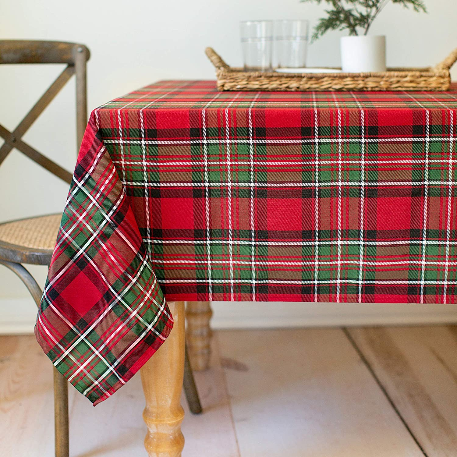 Benson Mills Co., Holiday Plaid Yarn Dyed Tablecloth RED 60X120
