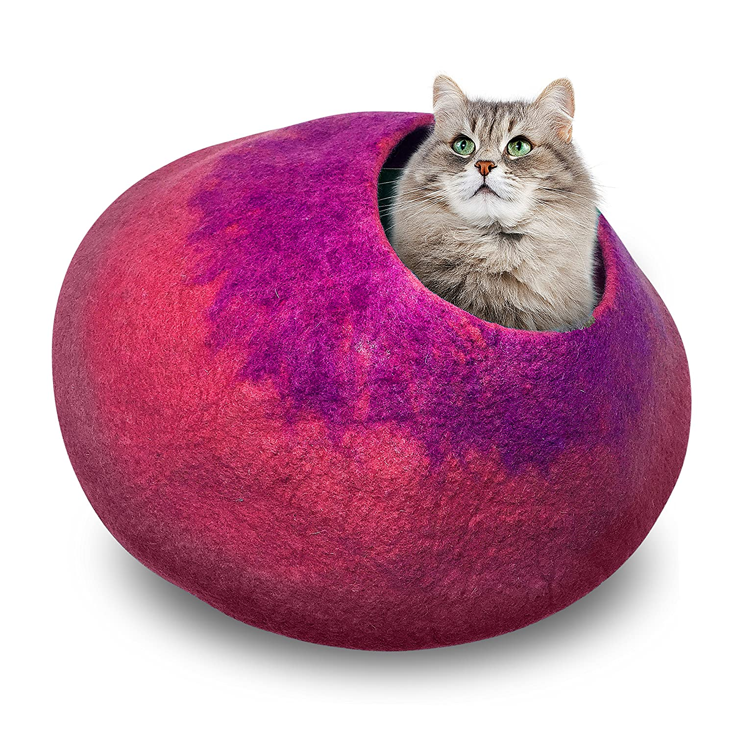 Medium Juccini Handcrafted Felted Wool Cat Cave Bed for Cat and Kittens Felted from 100% Natural Wool (Purple)
