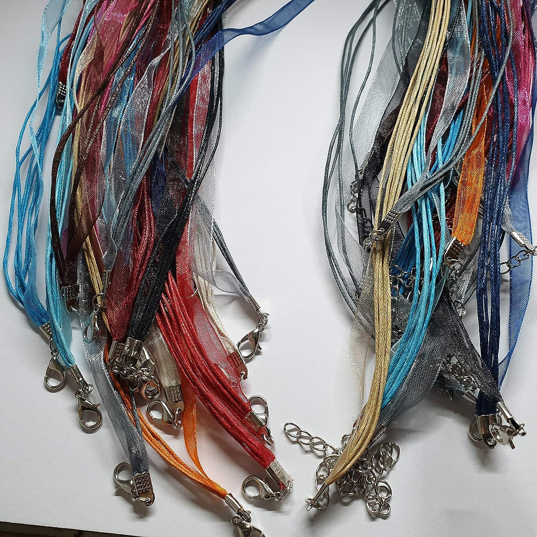 10/Colliers de rubans et cordons en organza M/élange de couleurs Cr/éation de bijoux Cha/înes J09766