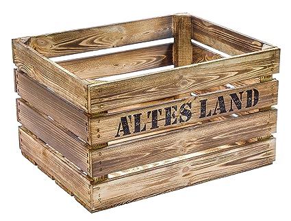 Flameado de madera 49 x 42 x 31 cm caja de fruta de