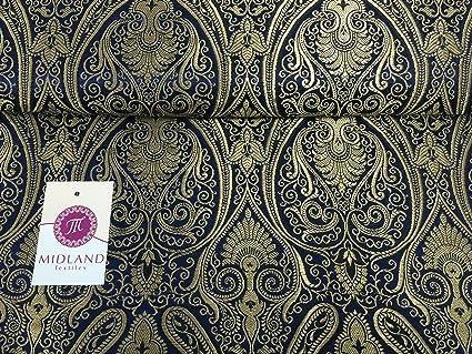 32a3d4fc2 Ornamental paisley gold metallic print Indian banarsi Brocade fabric ...