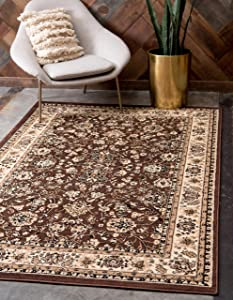 Unique Loom Kashan Collection Traditional Floral Overall Pattern with Border Brown Area Rug (7' 0 x 10' 0)