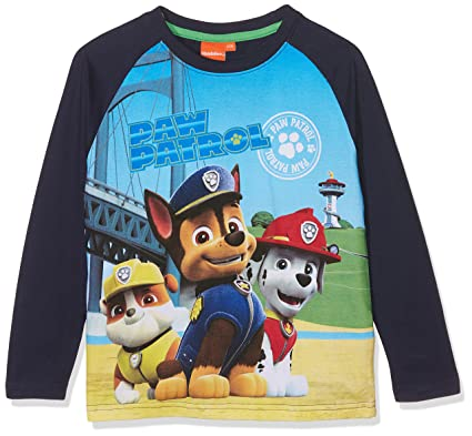 Paw Patrol Boy's Ls Raglan T-Shirt Long Sleeve Top, Blue