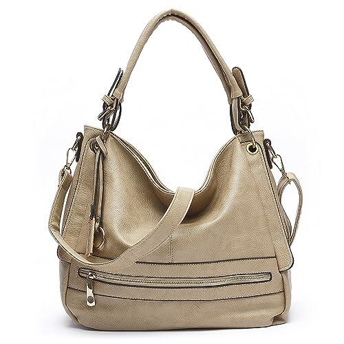 Amazon.com  ALI VICTORY Front Zipper Women Handbags Hobo Shoulder Bags Tote  (Beige)  Shoes 91d735f200265