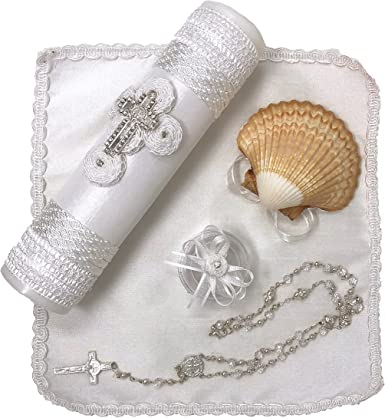 Beige Salve Regina Hand Made Catholic Christening//Baptism Kit for Baby Girls Model 12