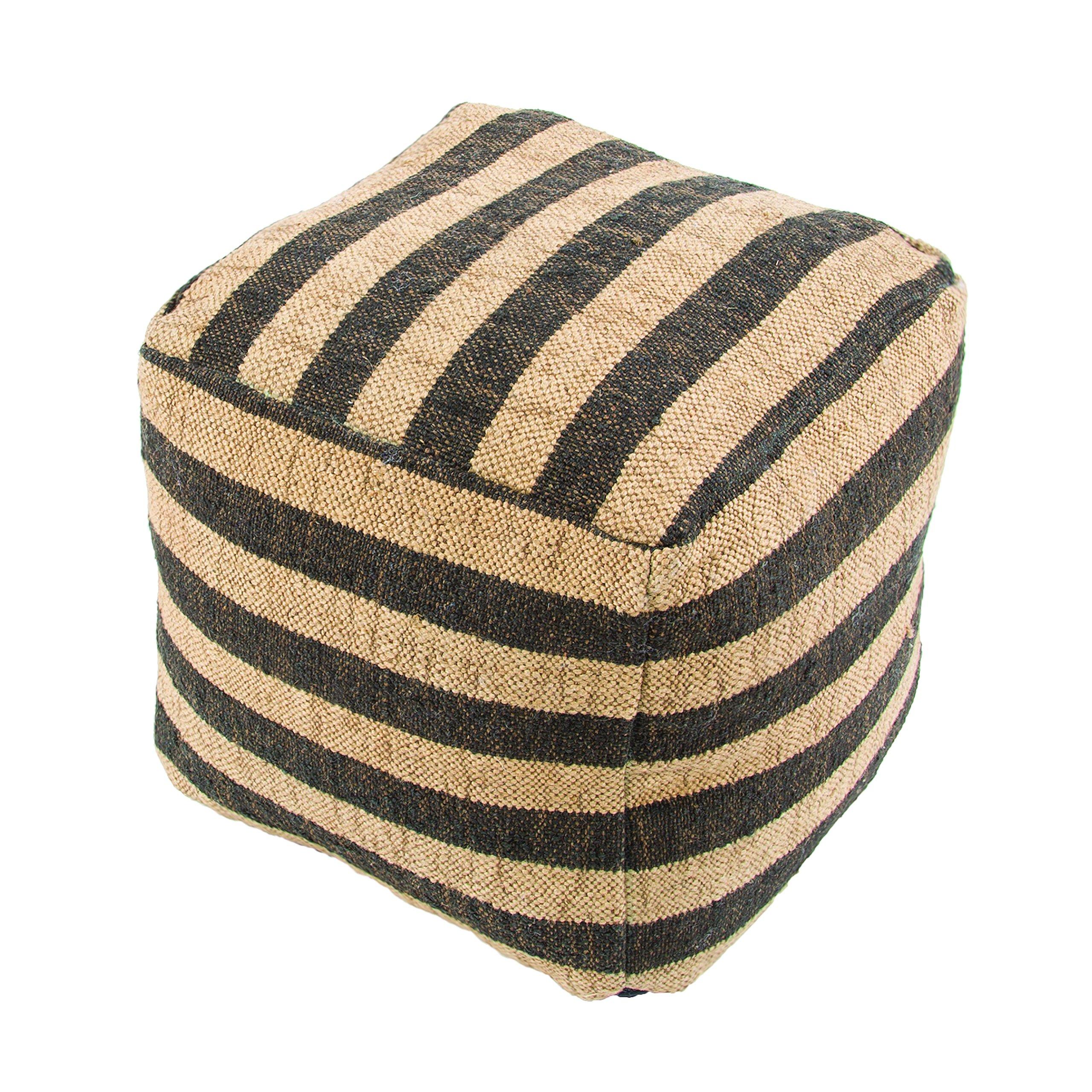 Jaipur Stripe Pattern Ivory/Black Wool Pouf, 16-Inch x 16-Inch x 16-Inch, Phantom Metal
