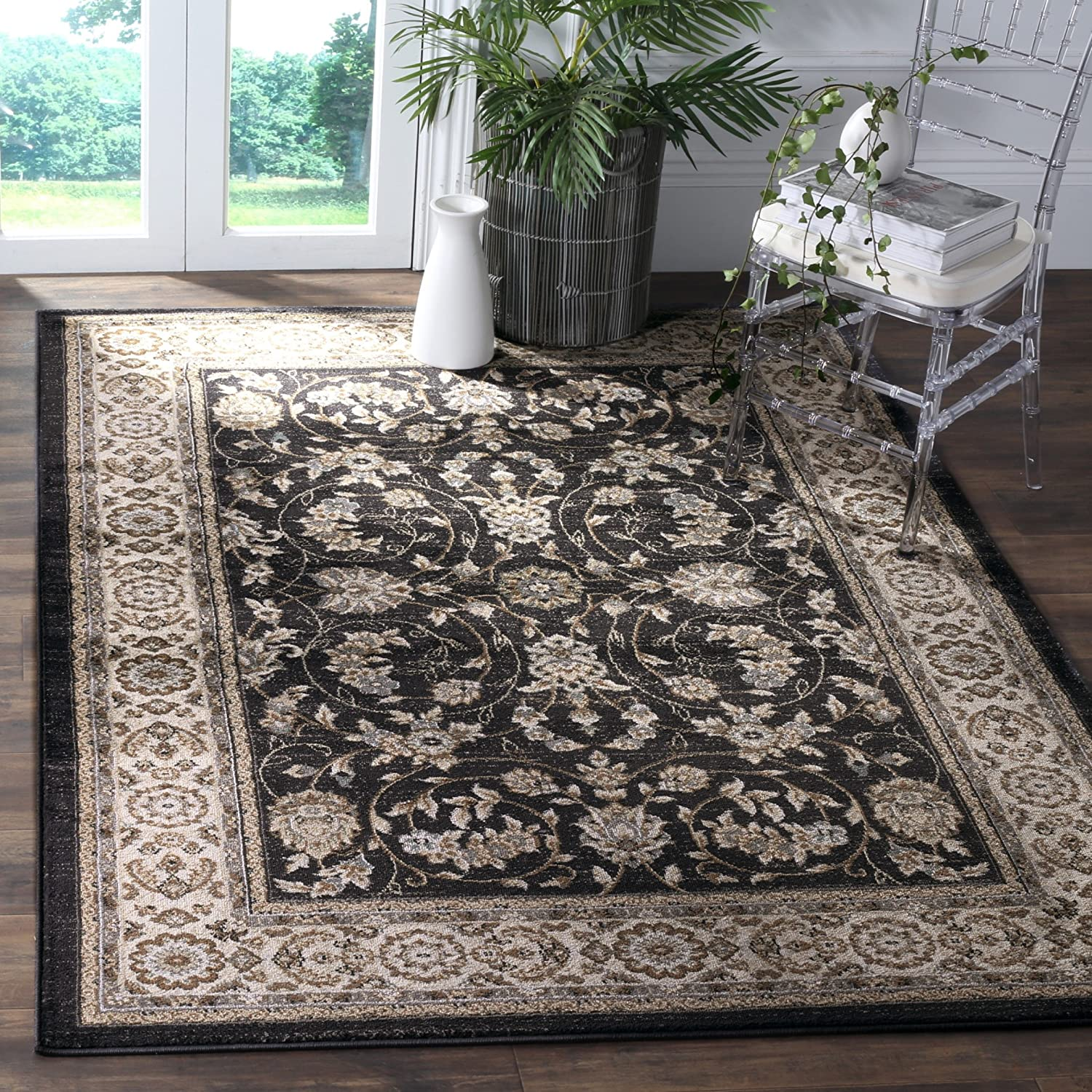 Amazon Com Safavieh Lyndhurst Collection Lnh340d Traditional Oriental Non Shedding Stain Resistant Living Room Bedroom Area Rug 7 X 7 Square Anthracite Cream Furniture Decor