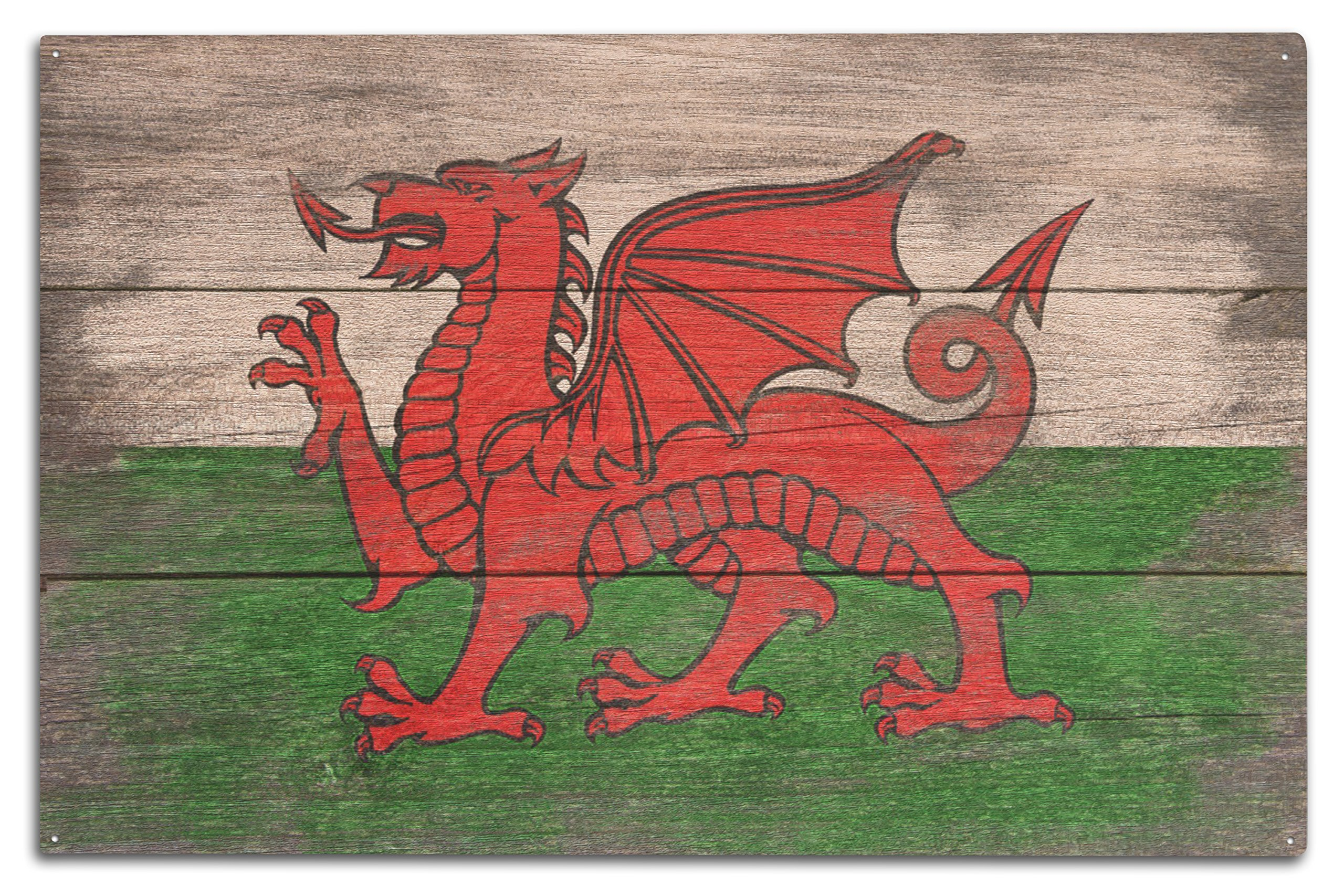 Lantern Press Rustic Wales Country Flag (10x15 Wood Wall Sign, Wall Decor Ready to Hang)