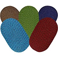SHF Door Mats 100% Cotton for Home and Office, Set of 5 Piece 33x53 cm Multicolor