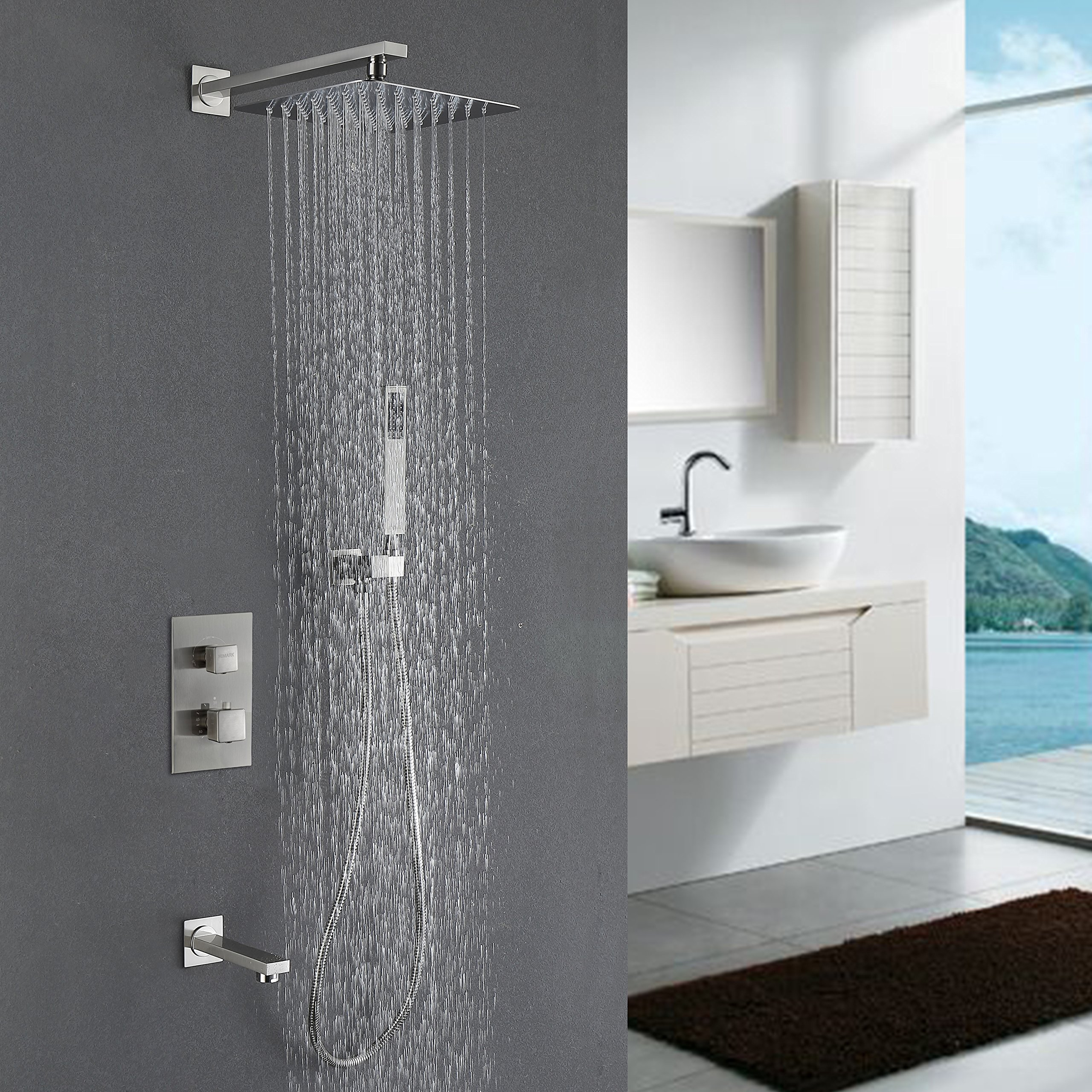 HIMARK Luxury Rain Shower Systems Wall Mounted Shower Combo Set with High Pressure 10 Inch Square Rain Shower Head and Handheld thermostatic Tub Shower Faucet Set Brushed Nickel