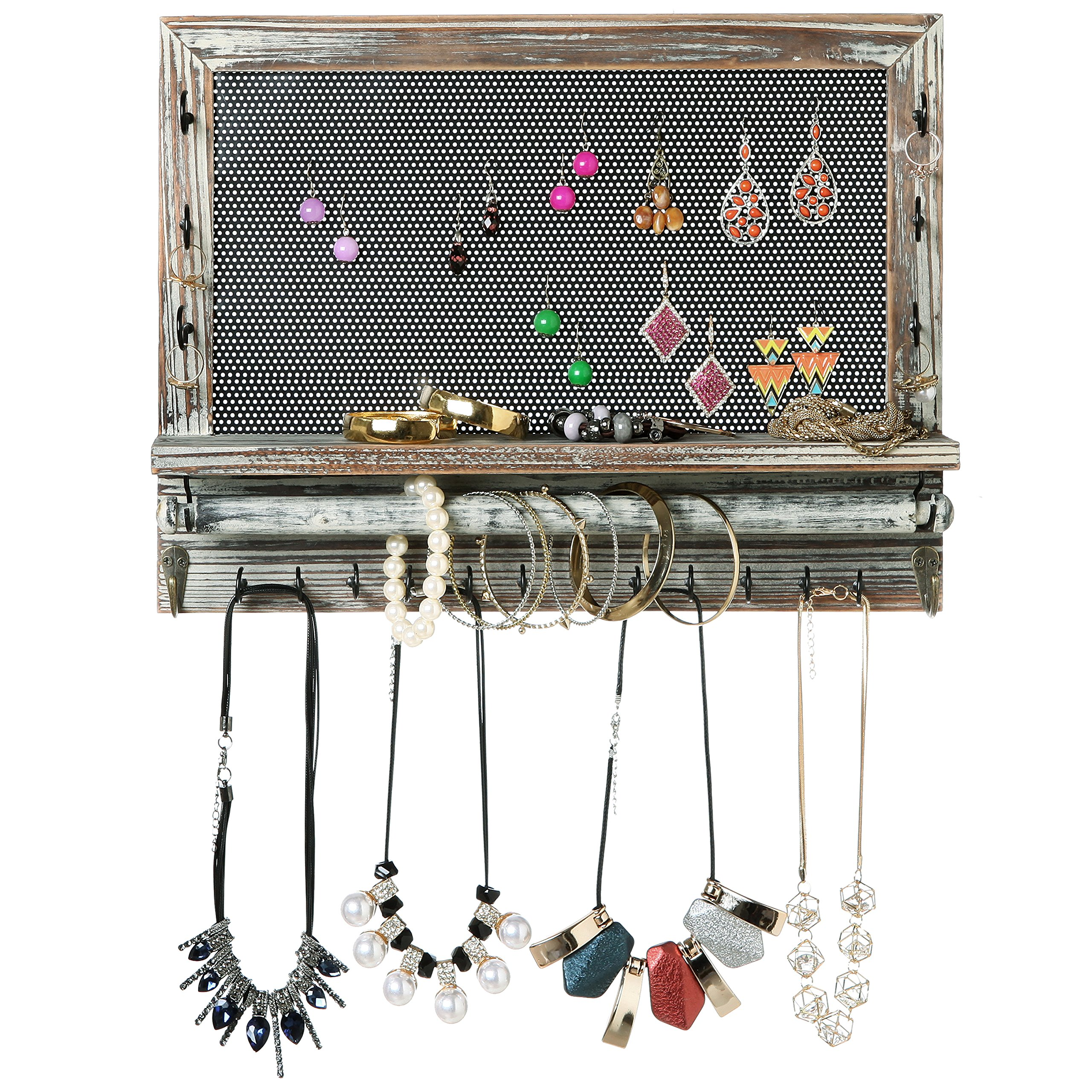 Rustic Wood & Metal Mesh Wall Mounted Jewelry Hanger, Necklaces, Bracelets & Earrings Organizer Rack by MyGift (Image #2)