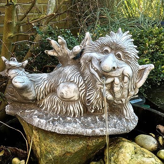 piedra Figura Gárgola gnomo Troll Jardín Decoración Jardín figuras Fantasía Figura: Amazon.es: Jardín