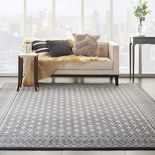Nourison Royal Moroccan Geometric Charcoal Silver 9 x 12 Area Rug , 8 6 x 12