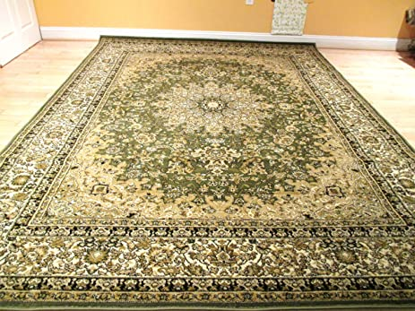 Beautiful Green Persian Style Rug Traditional Rugs 8x11 Rug And 8x10 Rug  Sage Green Carpet 8x10