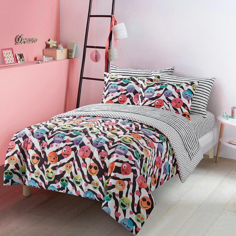 5 Piece Kids Black White Zebra Fun Emojis Comforter Twin/Twin XL Set, Colorful Emoji Faces Hearts Polka Dots Print Reversible Bedding Animal-Inspired Chevron Stripes Theme, Vibrant Colors, Polyester