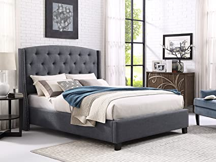 Amazon Com Roundhill Furniture Nantarre Fabric Tufted Wingback Upholstered Bed With Nailhead Trim King Gray Furniture Decor