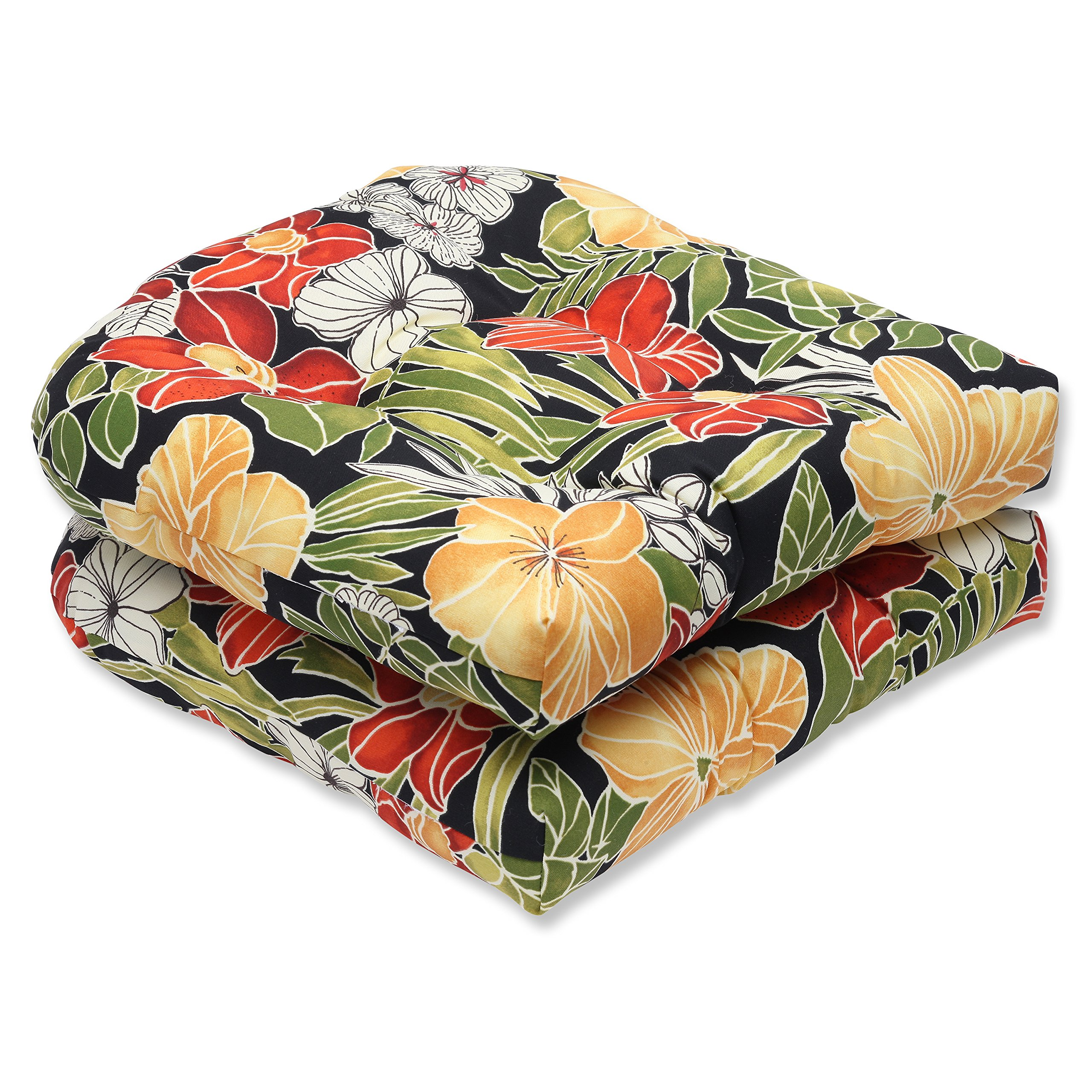 Pillow Perfect Outdoor Clemens Wicker Seat Cushion, Noir, Set of 2 by Pillow Perfect