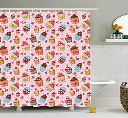 Ambesonne Pink Shower Curtain Decorations For Kitchen Cupcakes Muffins Strawberries And Cherries Print Fabric