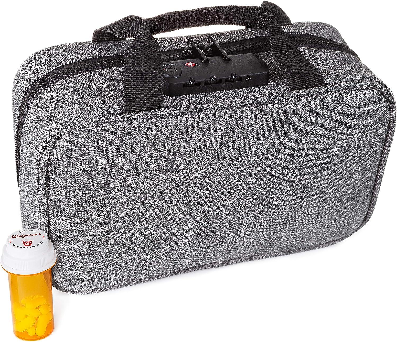 Medicine RX Safe Medication Travel Bag Grey