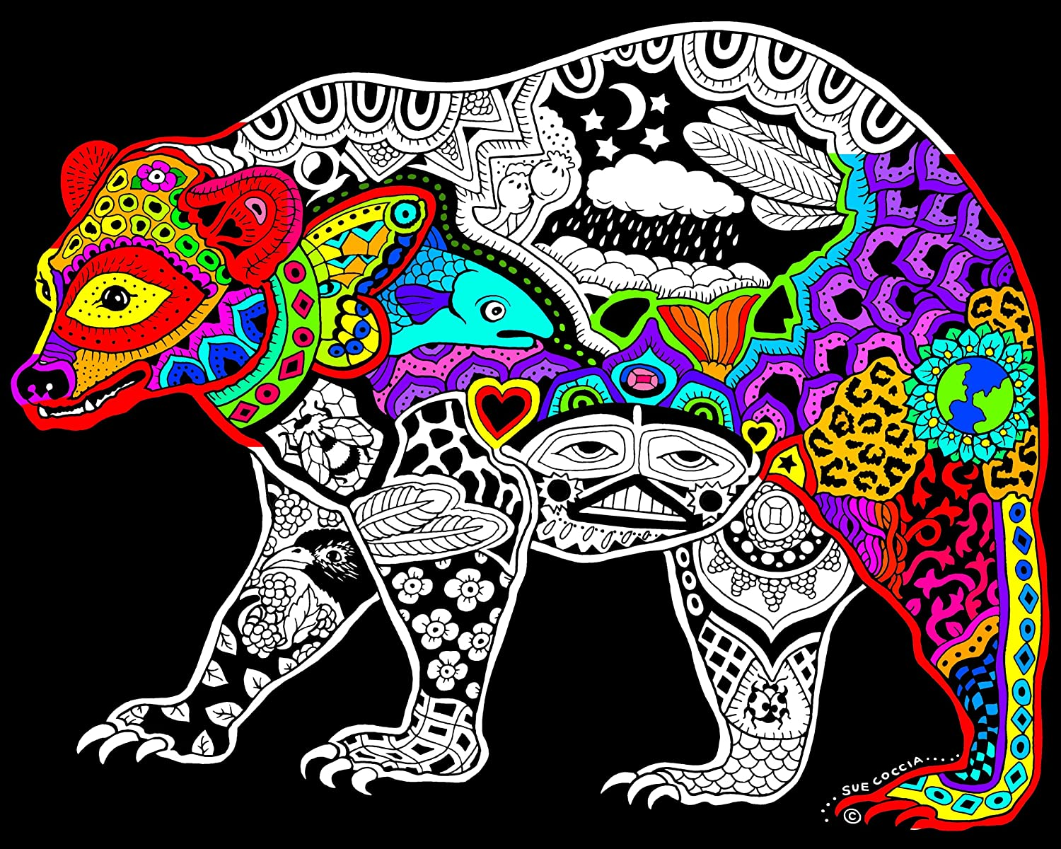 Amazon.com: Bear - 16x20 Fuzzy Velvet Coloring Poster: Toys & Games