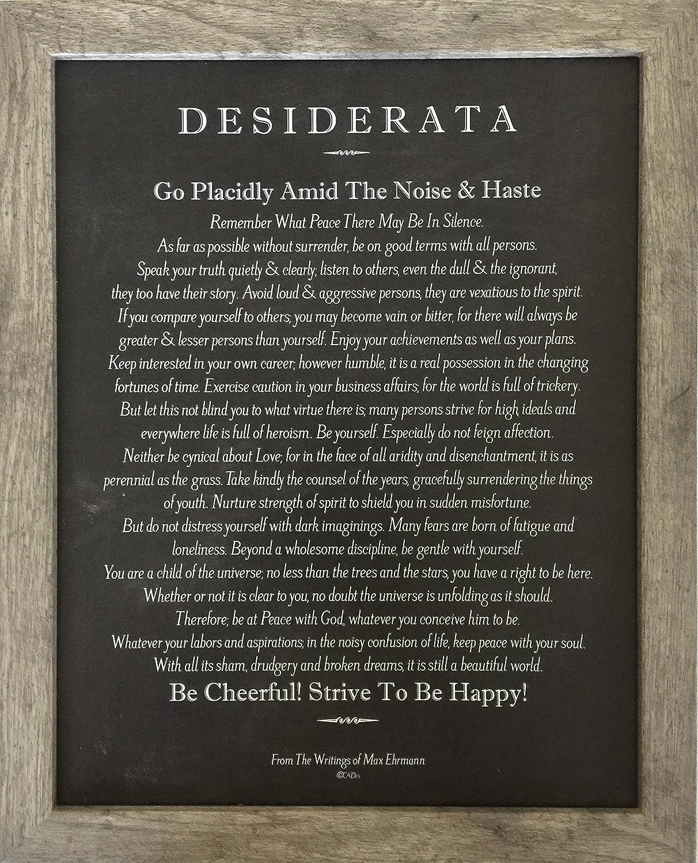 Desiderata Poem by Max Ehrmann 13x16 Blackboard Chalk Art in Driftwood Frame Desiderata Gallery